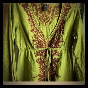 Lucky brand green tunic size med runs small